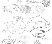 Coloriage et dessins gratuit Fond Marin en noir à imprimer