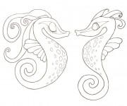 Coloriage Hippocampes amoureux