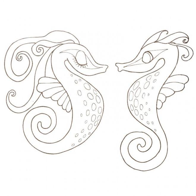 Coloriage Hippocampes Amoureux Dessin Gratuit à Imprimer