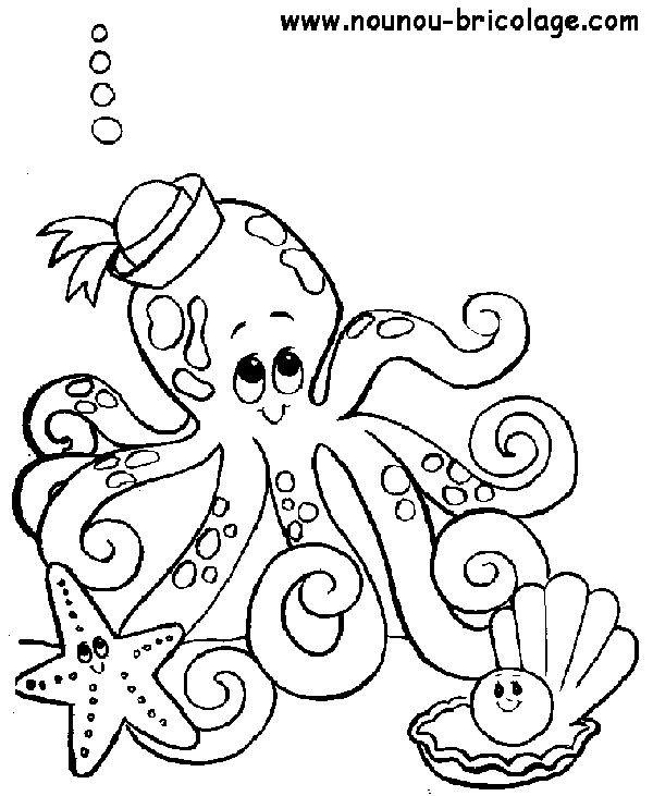 Coloriage et dessins gratuits Octopus  marin pour enfant à imprimer
