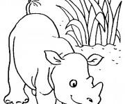Coloriage et dessins gratuit Petit Hippopotame dans la nature à imprimer