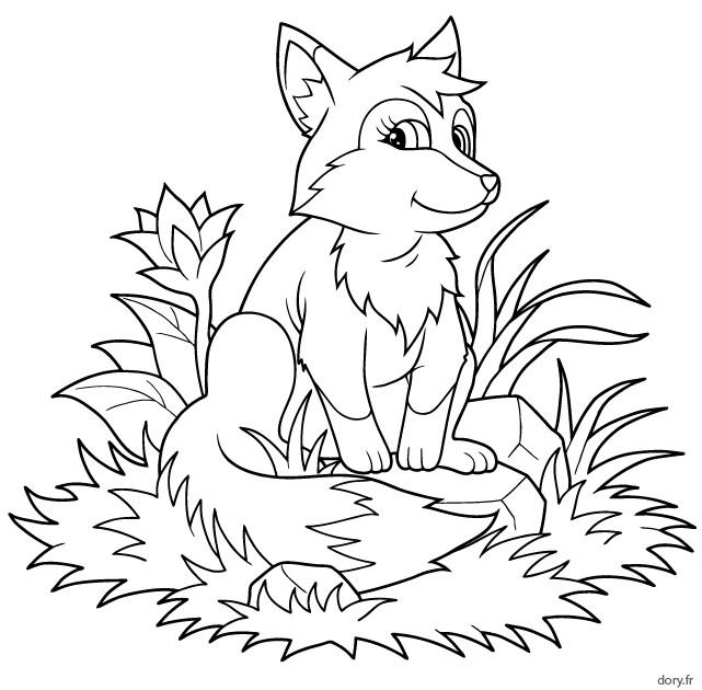 Coloriage petit renard en plein air dessin gratuit imprimer - Coloriage petit renard ...