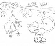 Coloriage et dessins gratuit Petits Singes sur L'arbre à imprimer