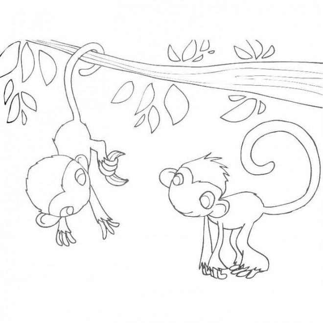 Coloriage et dessins gratuits Petits Singes sur L'arbre à imprimer