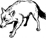 Coloriage et dessins gratuit Un Loup en noir à imprimer