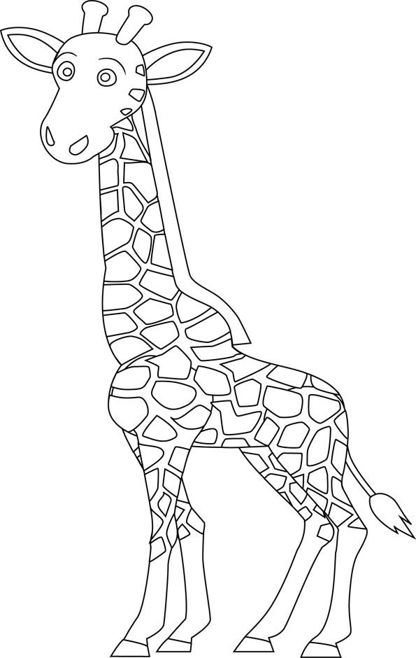 Coloriage une girafe facile colorier dessin gratuit - Girafe a imprimer ...