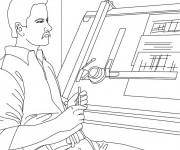 Coloriage et dessins gratuit Architecte au travail à imprimer