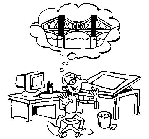 Coloriage et dessins gratuits Architecte et plan de Pont à imprimer
