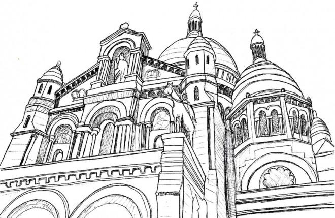 Coloriage et dessins gratuits Architecture d'église à imprimer