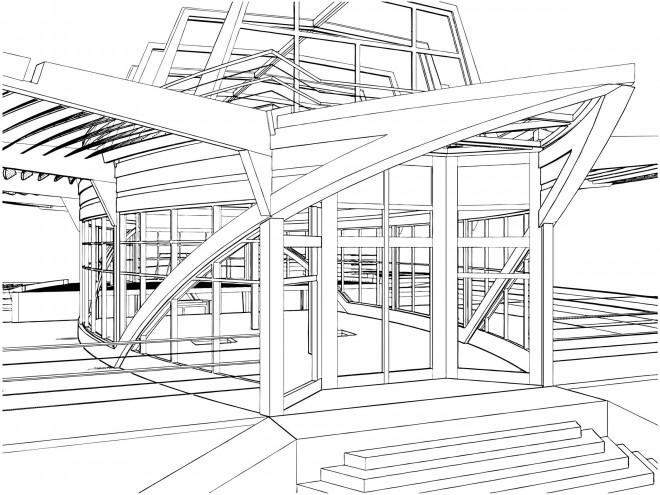 Coloriage Architecture Moderne Dessin Gratuit à Imprimer