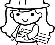 Coloriage et dessins gratuit Petite Architecte vecteur à imprimer