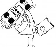 Coloriage Bart en train de jouer