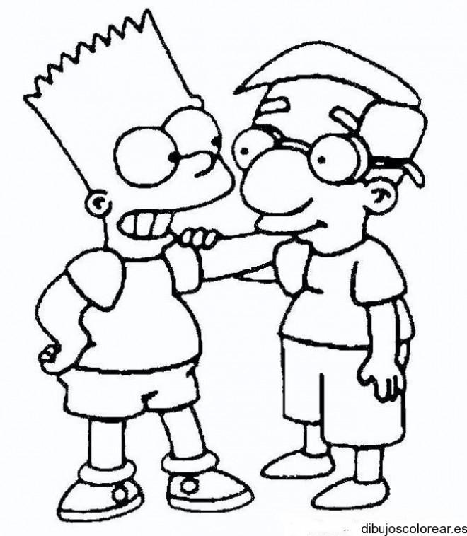 Coloriage Bart Et Son Meilleur Ami Dessin Gratuit A Imprimer