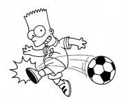 Coloriage Bart joue au ballon