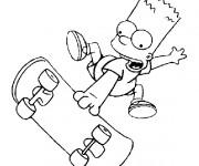 Coloriage Bart s'amuse bien