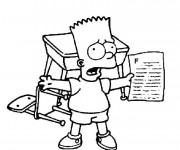 Coloriage Bart Simpson à l'école