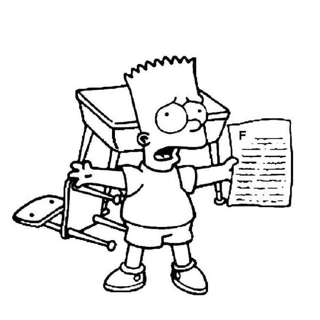 Coloriage et dessins gratuits Bart Simpson à l'école à imprimer