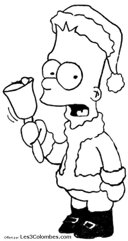 Coloriage et dessins gratuits Bart Simpson Noël à imprimer