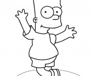 Coloriage dessin  Simpson Bart danse