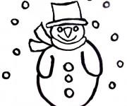 Coloriage et dessins gratuit Bonhomme de Neige à découper à imprimer
