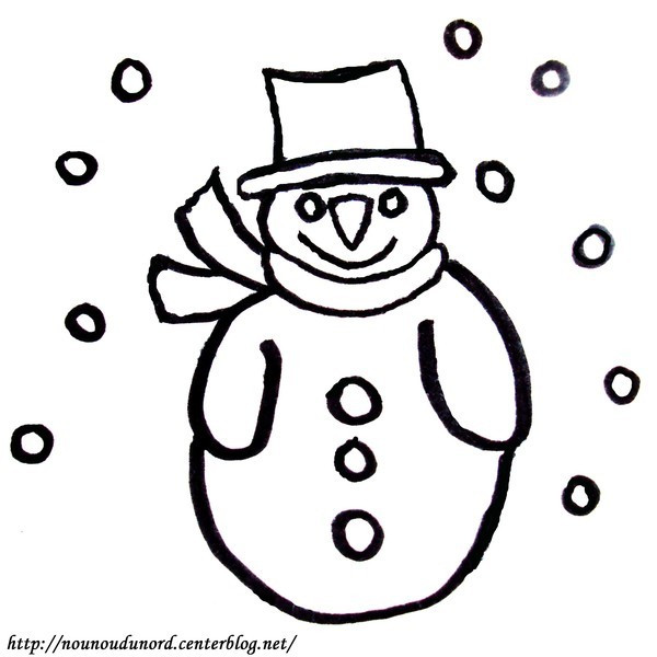 Coloriage bonhomme de neige d couper - Coloriage a decouper ...