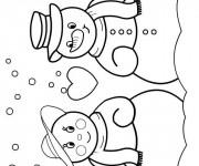 Coloriage et dessins gratuit Bonhomme de Neige amoureux à imprimer
