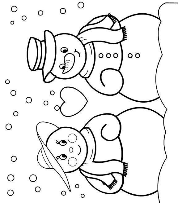Coloriage bonhomme de neige amoureux dessin gratuit imprimer - Bonhomme de neige a imprimer gratuit ...
