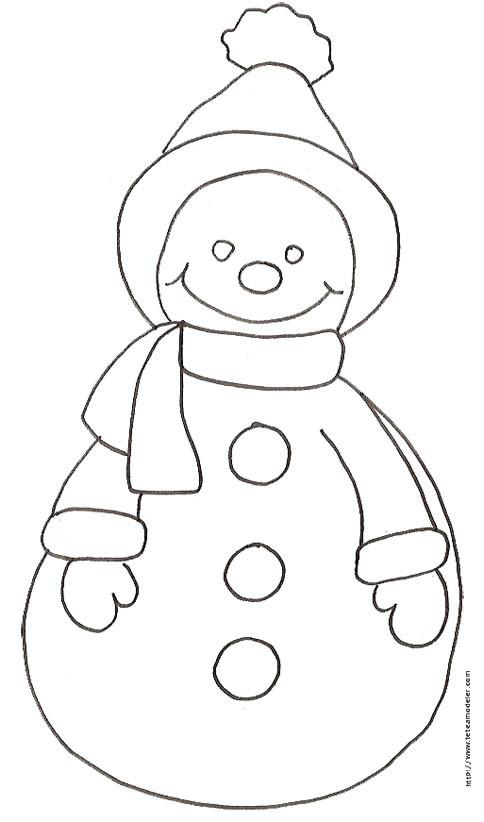 Coloriage et dessins gratuits Bonhomme de Neige au crayon à imprimer