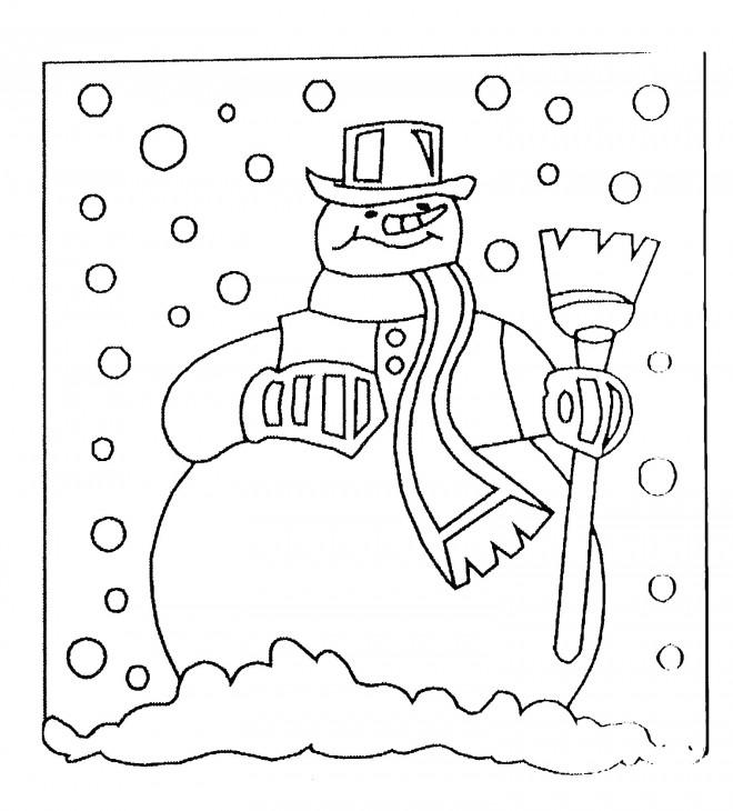 Coloriage et dessins gratuits Bonhomme de Neige au jardin à imprimer