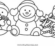 Coloriage et dessins gratuit Bonhomme de Neige de Noël à imprimer