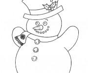 Coloriage et dessins gratuit Bonhomme de Neige en couleur à imprimer