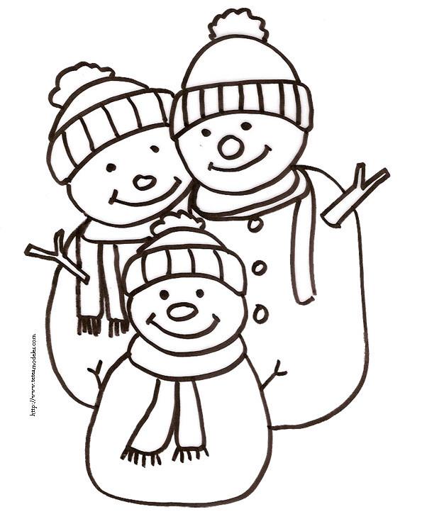 Coloriage bonhomme de neige en famille dessin gratuit imprimer - Bonhomme de neige a imprimer gratuit ...