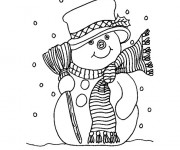Coloriage et dessins gratuit Bonhomme de Neige en hiver à imprimer