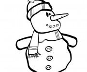 Coloriage et dessins gratuit Bonhomme de Neige en noir et blanc à imprimer