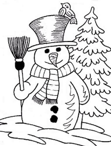 Coloriage et dessins gratuits Bonhomme de Neige et Balai à imprimer