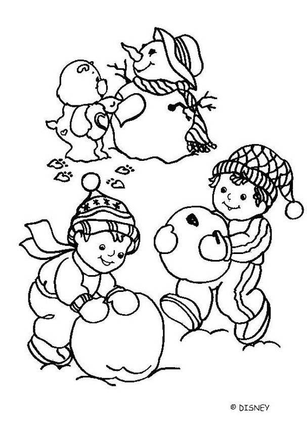 Coloriage et dessins gratuits Bonhomme de Neige et Coeurs à imprimer