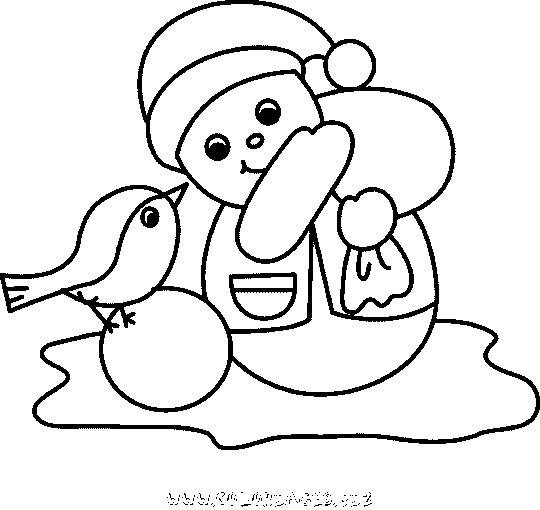 Coloriage et dessins gratuits Bonhomme de Neige et L'oiseau à imprimer