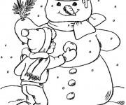 Coloriage Bonhomme de Neige et le petit enfant
