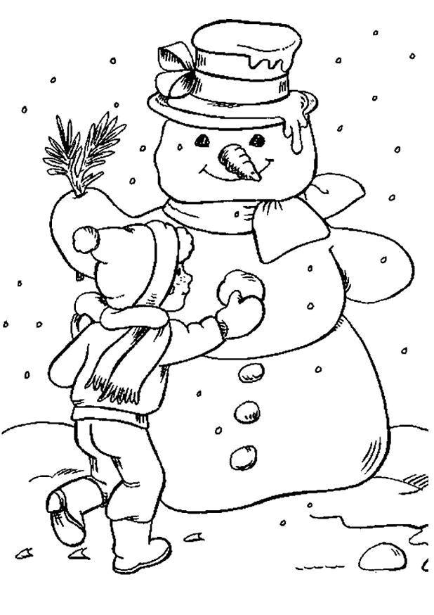 Coloriage bonhomme de neige et le petit enfant dessin gratuit imprimer - Dessin bonhomme de neige facile ...
