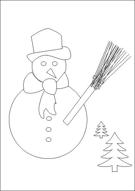 Coloriage et dessins gratuits Bonhomme de Neige et Les Arbres à imprimer
