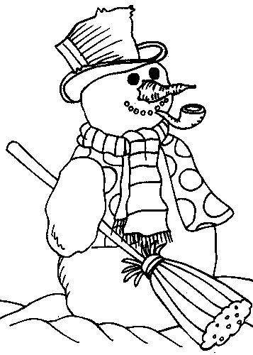 Coloriage Bonhomme de Neige et Sa Pipe dessin gratuit à imprimer