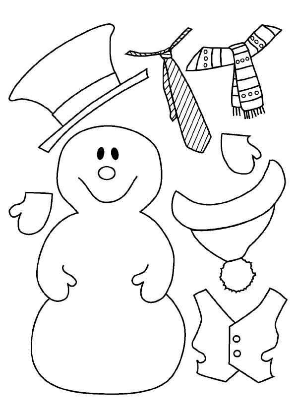 Coloriage et dessins gratuits Bonhomme de Neige et Vêtements à imprimer