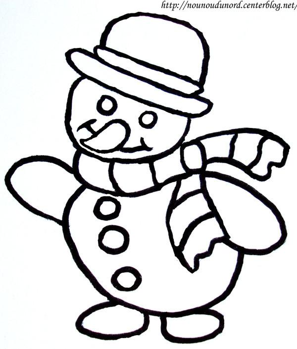 Coloriage et dessins gratuits Bonhomme de Neige facile à imprimer