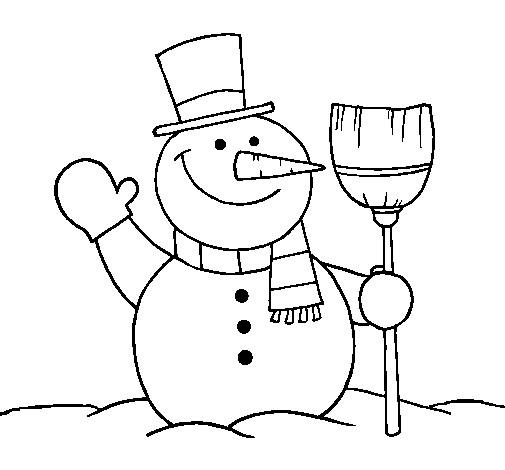 Coloriage et dessins gratuits Bonhomme de Neige heureux à imprimer