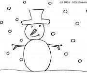 Coloriage Bonhomme de Neige hivernale