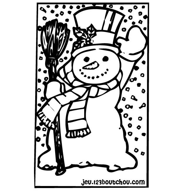 Coloriage bonhomme de neige l ve sa main dessin gratuit imprimer - Bonhomme de neige a imprimer gratuit ...