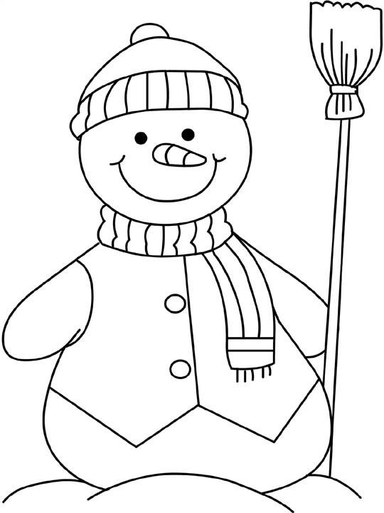 Coloriage et dessins gratuits Bonhomme de Neige portant un Balai à imprimer