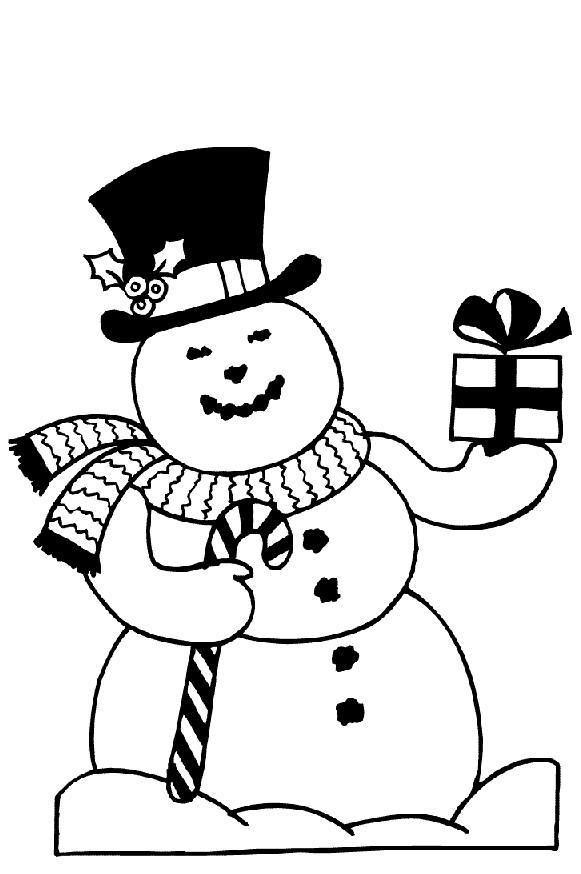 Coloriage et dessins gratuits Bonhomme de Neige porte les Cadeaux de Noël à imprimer