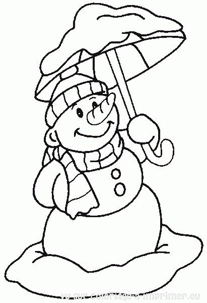 Coloriage et dessins gratuits Bonhomme de Neige porte Une Parapluie à imprimer