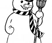 Coloriage et dessins gratuit Bonhomme de Neige qui porte un chapeau à imprimer